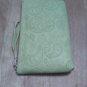 Talbots Perforated Yellow Leather Wristlet